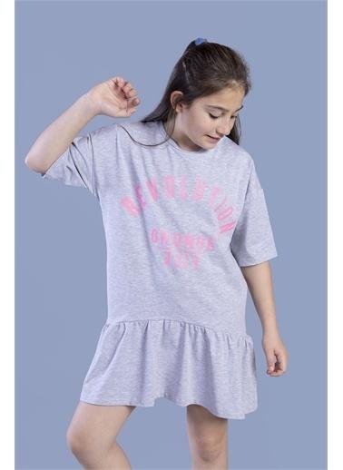 Toontoy Kids Toontoy Kız Çocuk Baskılı Eteği Büzgülü Düşük Kol Elbise Renkli